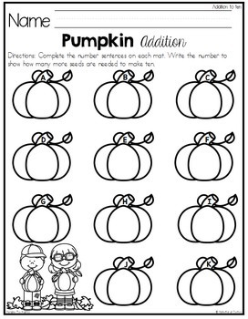 Pumpkin Ten Frame Addition