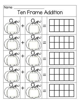 Pumpkin Ten Frame Addition