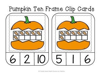 Pumpkin Ten Frame Clip Cards