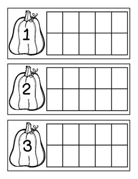 Pumpkin Ten Frame Counting 1-10