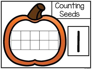 Pumpkin Ten Frame Seed Counting. Numbers 1-10. Preschool-Kindergarten Math.
