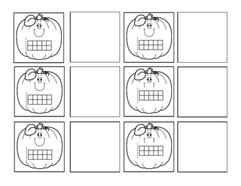 Pumpkin Ten Frame numbers 1-20