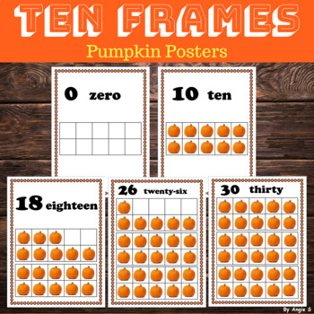 Pumpkin Ten Frames, 0-30 Number Posters