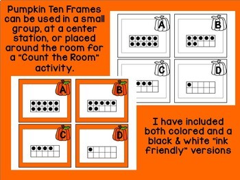 Pumpkin Ten Frames- A Counting Math Center Activity for Numbers 0-10