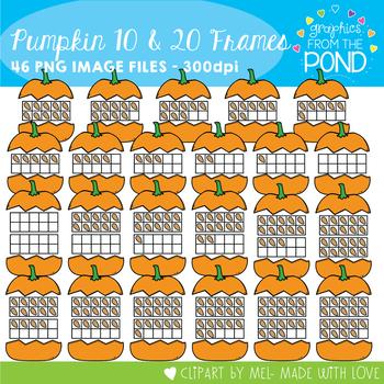 Pumpkin Ten Frames - Clipart for Teachers