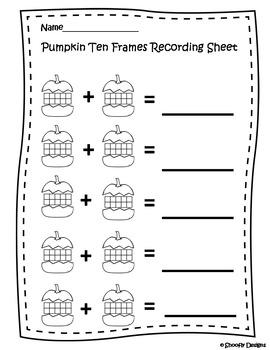Pumpkin Ten Frames Station and Recording Sheet