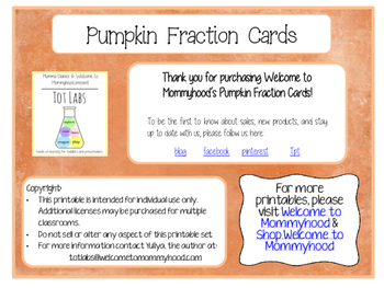 Pumpkin (Thanksgiving) Fraction Cards - Montessori Inspired