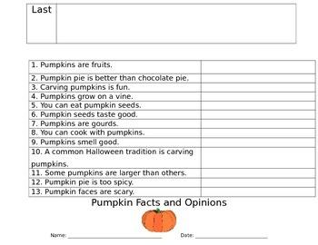 Pumpkin Thematic Unit