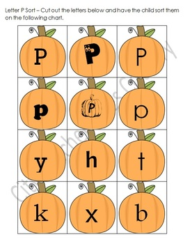 Letter P-Pumpkin Thematic Unit (51 pages) Lesson Ideas and Printables