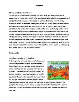 Pumpkin Thematic Unit for Primary Grades