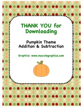 Pumpkin Theme - Addition & Subtraction