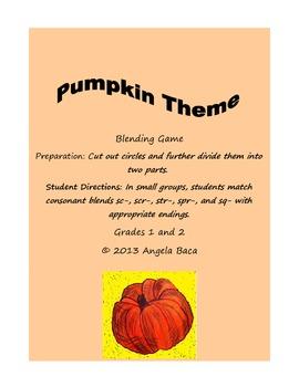 Pumpkin Theme Blending Game Grades 1 and 2