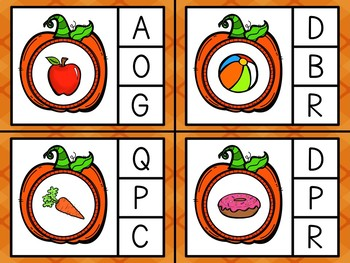 Pumpkin Theme Capital / Lowercase Letter and Beginning Sound Clip Cards