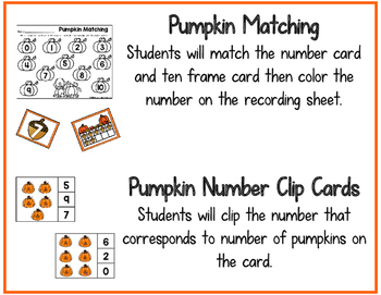 Pumpkin Theme Number Centers