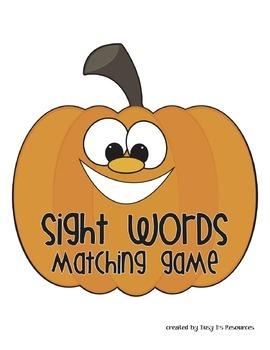 Pumpkin Theme Sight Words Matching Game