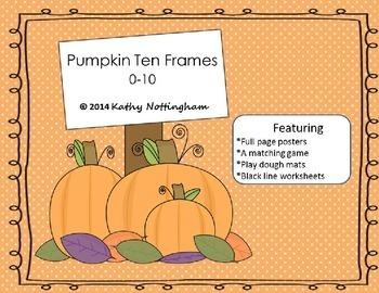 Pumpkin Theme Ten Frames Posters Playdough Mats Math Centers