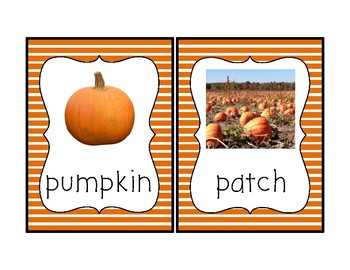 Pumpkin Theme Vocabulary Cards