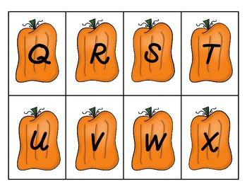 Pumpkin Themed Alphabet Cards for Fall
