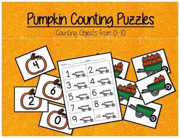 Pumpkin Themed Counting Puzzles - Kindergarten Math Center