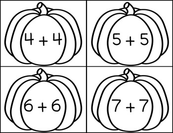 Pumpkin Themed Doubles Addition Facts Math Center