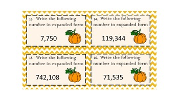 expanded form 742  Pumpkin Themed Expanded Notation task cards with recording sheet