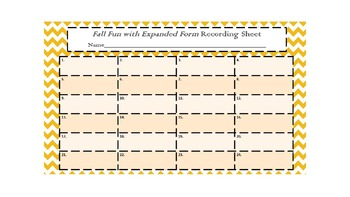 Pumpkin Themed Expanded Notation task cards with recording sheet