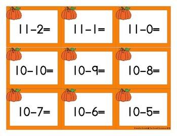 Pumpkin Themed Hands On Subtraction Center