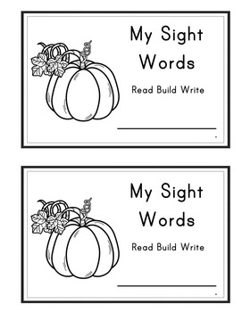Pumpkin Themed Interactive Sight Word Books Editable