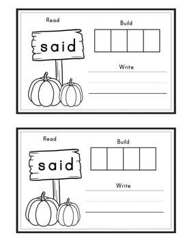 Pumpkin Themed Kindergarten Journeys Interactive Sight Word Books Editable