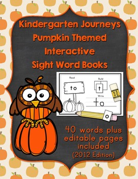 Pumpkin Themed Kindergarten Journeys Interactive Sight Wor