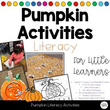 Pumpkin Themed Literacy Activities - Letter ID, CVC Words, Label a Pumpkin