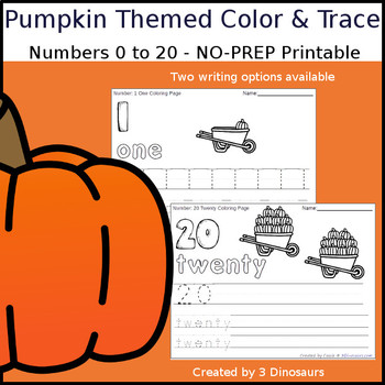 Pumpkin Themed Number Color and Trace