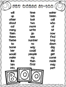 Pumpkin Themed Sight Word BINGO (Fry List Words 1-200)