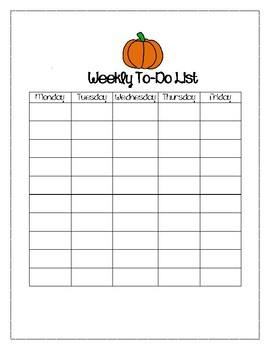 Pumpkin Themed Weekly To-Do List