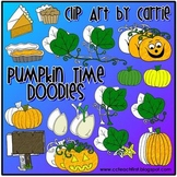 Pumpkin Time Doodles (BW and color PNG files)