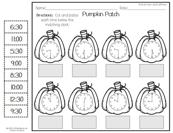 Pumpkin Themed-Time to the  Hour and Half Hour
