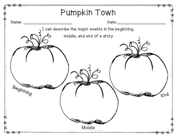 Pumpkin Town Graphic Organizer: Beginning, Middle, and End