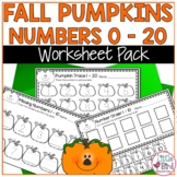 Autumn Numbers Worksheets 1-20 Pumpkin Theme   Trace, Write, Count