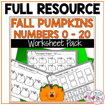 Autumn Numbers Worksheets 1-20 with Pumpkin Theme - Free Sample