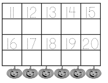 Pumpkin Trace and Write Numbers 1-20 Precious Preschoolers Halloween Harvest