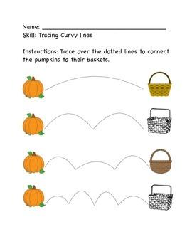 Pumpkin Tracing Worksheet for Pre-K or K