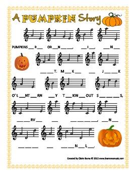 Pumpkin Treble Clef Notation Practice Worksheet