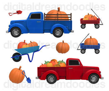 Pumpkin Truck Clip Art - Fall Pumpkin Patch Harvest Digital Graphics
