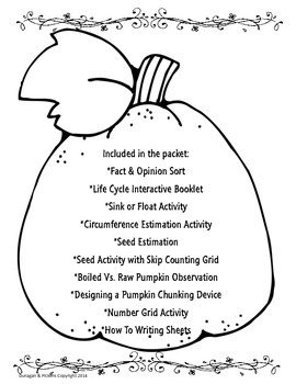Pumpkin Unit (Experiments, Higher Level Thinking) STEM