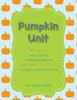 Pumpkin [Fall] Unit - Math, Phonics, Color Words, Numbers Words, Etc.