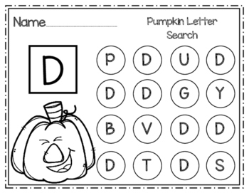 Pumpkin Uppercase Letter Search
