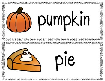 Pumpkin Vocabulary Cards FREEBIE