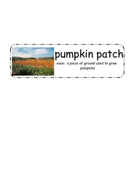 "Pumpkin Vocabulary Cards - ""Pumpkin Circle"" & ""A Day at the Pumpkin Patch"""
