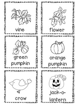 Pumpkin Vocabulary Flashcards and mini book