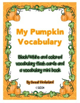 Pumpkin Vocabulary Flashcards and mini book